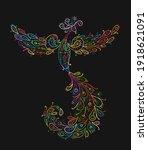 magic fairy bird. phoenix bird. ... | Shutterstock .eps vector #1918621091