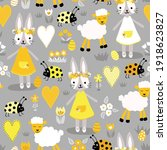 easter vector pattern gray and... | Shutterstock .eps vector #1918623827