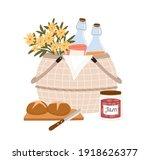 composition of picnic basket... | Shutterstock .eps vector #1918626377