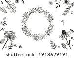 floral decorational frame with...   Shutterstock .eps vector #1918629191