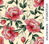 vector watercolour red blooming ... | Shutterstock .eps vector #1918655114