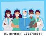 group of interracial doctors... | Shutterstock .eps vector #1918708964