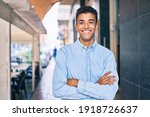 young latin man smiling happy... | Shutterstock . vector #1918726637