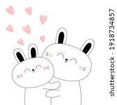 bunny couple. baby rabbit hare. ...   Shutterstock .eps vector #1918734857