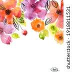 watercolor flowers. background... | Shutterstock . vector #1918811531