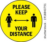 please keep your distance... | Shutterstock .eps vector #1918843751
