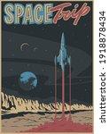 space trip illustration retro... | Shutterstock .eps vector #1918878434