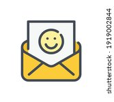 mail with happy face color line ...