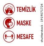 "temizlik maske mesafe  ""hygiene ... | Shutterstock .eps vector #1919071724"