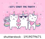cover design with unicorn cats. ...   Shutterstock .eps vector #1919079671