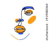 surreal face painting. one line ... | Shutterstock .eps vector #1919080364