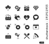 dating   celebrate icons on... | Shutterstock .eps vector #191911955