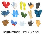 variety of gloves flat pictures ... | Shutterstock .eps vector #1919125721