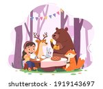 girl kid  animal cartoon... | Shutterstock .eps vector #1919143697