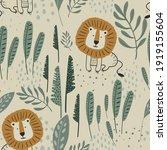cute lion jungle seamless...   Shutterstock .eps vector #1919155604