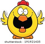 Cartoon illustration of a happy yellow chicken.  - stock vector