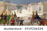medieval war scene. middle ages ... | Shutterstock .eps vector #1919236334