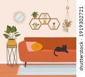 living room interior.flat style ... | Shutterstock .eps vector #1919302721