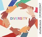 hands of diverse group of... | Shutterstock .eps vector #1919322047