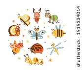 funny insects in circular shape ... | Shutterstock .eps vector #1919334014