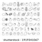 fruit element doodle set. fruit ... | Shutterstock .eps vector #1919341067