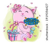cute embarrassed kitten  with a ... | Shutterstock .eps vector #1919356427