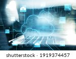 Small photo of Business cloud computing: digital screen with application cloud service icons and blurry laptop at background