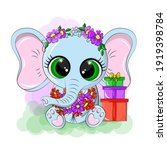 cute elephant with a wreath on... | Shutterstock .eps vector #1919398784