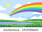 rainbow above pond lake nature... | Shutterstock .eps vector #1919406641