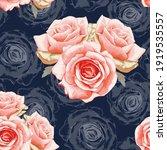 seamless pattern red rose... | Shutterstock .eps vector #1919535557