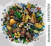 hawaii hand drawn cartoon... | Shutterstock .eps vector #1919537024