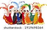 group of flamenco dancers in... | Shutterstock .eps vector #1919698364