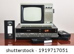 Old Silver Vintage Tv With Vcr...