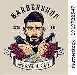 barbershop vintage colorful... | Shutterstock .eps vector #1919722547