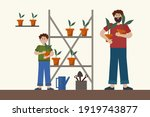 father and son in the garden.... | Shutterstock .eps vector #1919743877