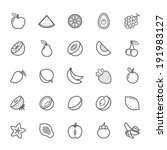 set of outline stroke fruit...