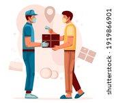 cash on delivery. postal parcel ... | Shutterstock .eps vector #1919866901