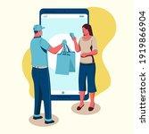 cash on delivery. postal parcel ... | Shutterstock .eps vector #1919866904