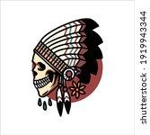 indian skull tattoo vector... | Shutterstock .eps vector #1919943344