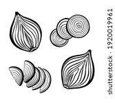 vector set of cut in half onion ... | Shutterstock .eps vector #1920019961