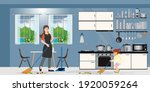 family cleaning kitchen. woman... | Shutterstock .eps vector #1920059264