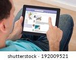 mid adult man surfing on social ... | Shutterstock . vector #192009521
