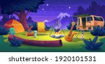 summer camp at night time. rv... | Shutterstock .eps vector #1920101531