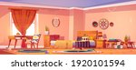 messy bedroom in boho style... | Shutterstock .eps vector #1920101594