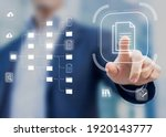 Small photo of Document Management System (DMS) in addition to digitization and process automation to efficiently manage files, knowledge and documentation in enterprise with ERP. Corporate business technology