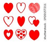 red heart icon set. happy...   Shutterstock . vector #1920157211