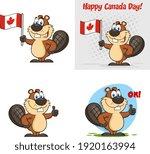 beaver cartoon mascot character.... | Shutterstock .eps vector #1920163994