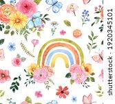 Watercolor Floral Rainbow...