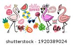 flamingo doodle with tropical... | Shutterstock .eps vector #1920389024