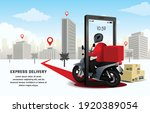 deliver the parcel by... | Shutterstock .eps vector #1920389054
